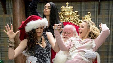 Bad Moms Christmas movie scene Santa's lap