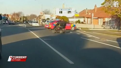 The double amputee copped two fines for the slow-speed pursuit through Timaru on his mobility scooter.