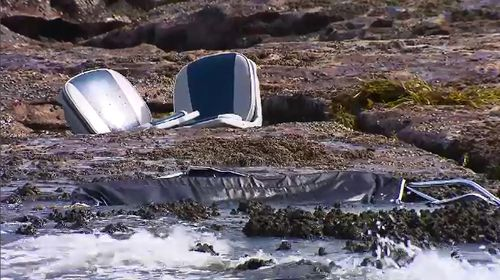 The trio had been in the water for around 20 minutes before they were rescued by lifesavers and emergency services could treat them. Picture: 9NEWS.