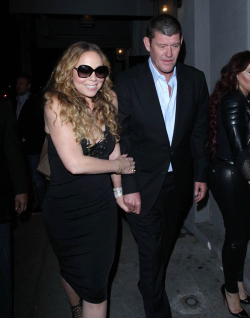 Mariah Carey and James Packer depart Craig's Restaurant in Beverly Hills, USA, in 2016. (AAP)