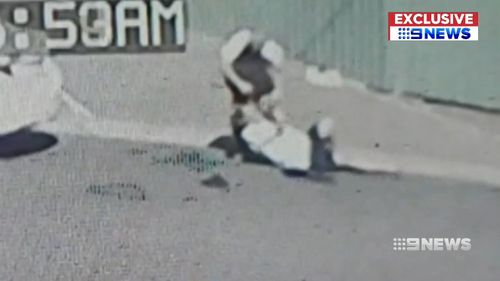Security footage shows the fight which lasted for at least four minutes.