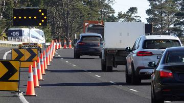 A Victoria Police checkpoint set up on the border of Sunbury and Gisborne on the Calder Freeway.