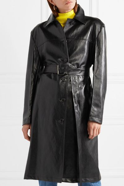 "<a href=""https://www.net-a-porter.com/au/en/product/1047381/we11done/faux-leather-coat"" target=""_blank"" draggable=""false"">WE11DONE Faux Leather Coat, $1,313</a>"
