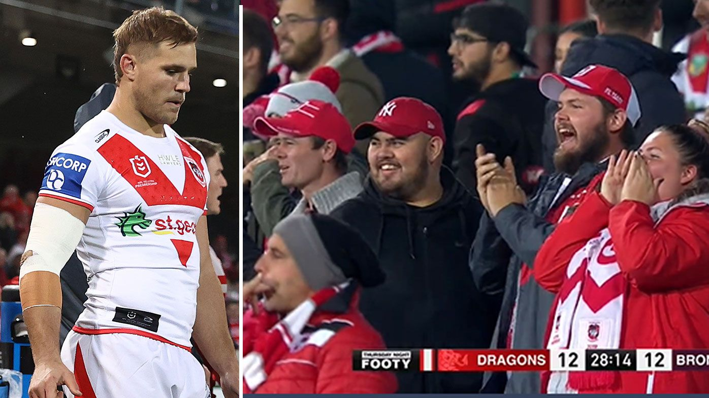 Dragons fans treat Jack de Belin to standing ovation as star returns for first NRL game in 992 days