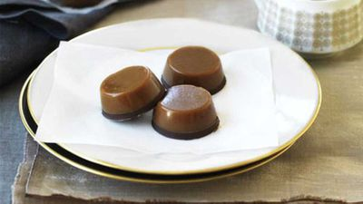 "Click through for our <a href=""http://kitchen.nine.com.au/2016/05/19/14/56/chewy-salted-caramel-chocolates"" target=""_top"">Chewy salted caramel chocolates</a> recipe"