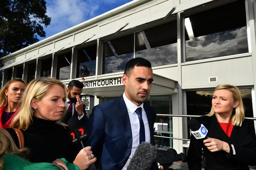 Penrith Panthers NRL player Tyrone May leaves Penrith Courthouse in Sydney,. He will next appear before the judge later this month.