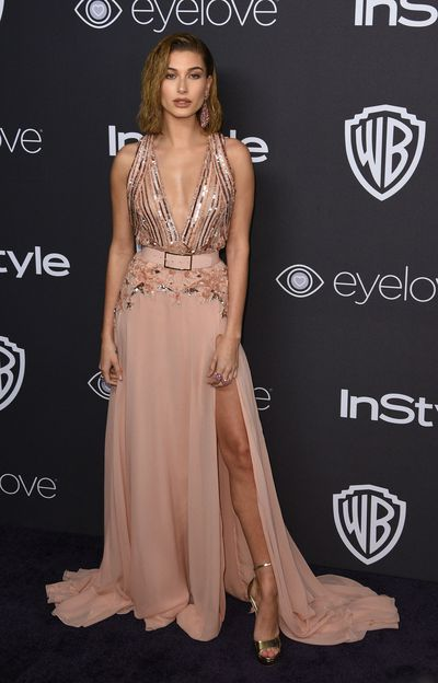 Hailey Baldwin in Elie Saab at the 2017 Golden Globes After Party