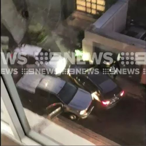 A group of young males were arrested overnight after ramming an allegedly stolen vehicle into an undercover police car. Picture: Supplied.