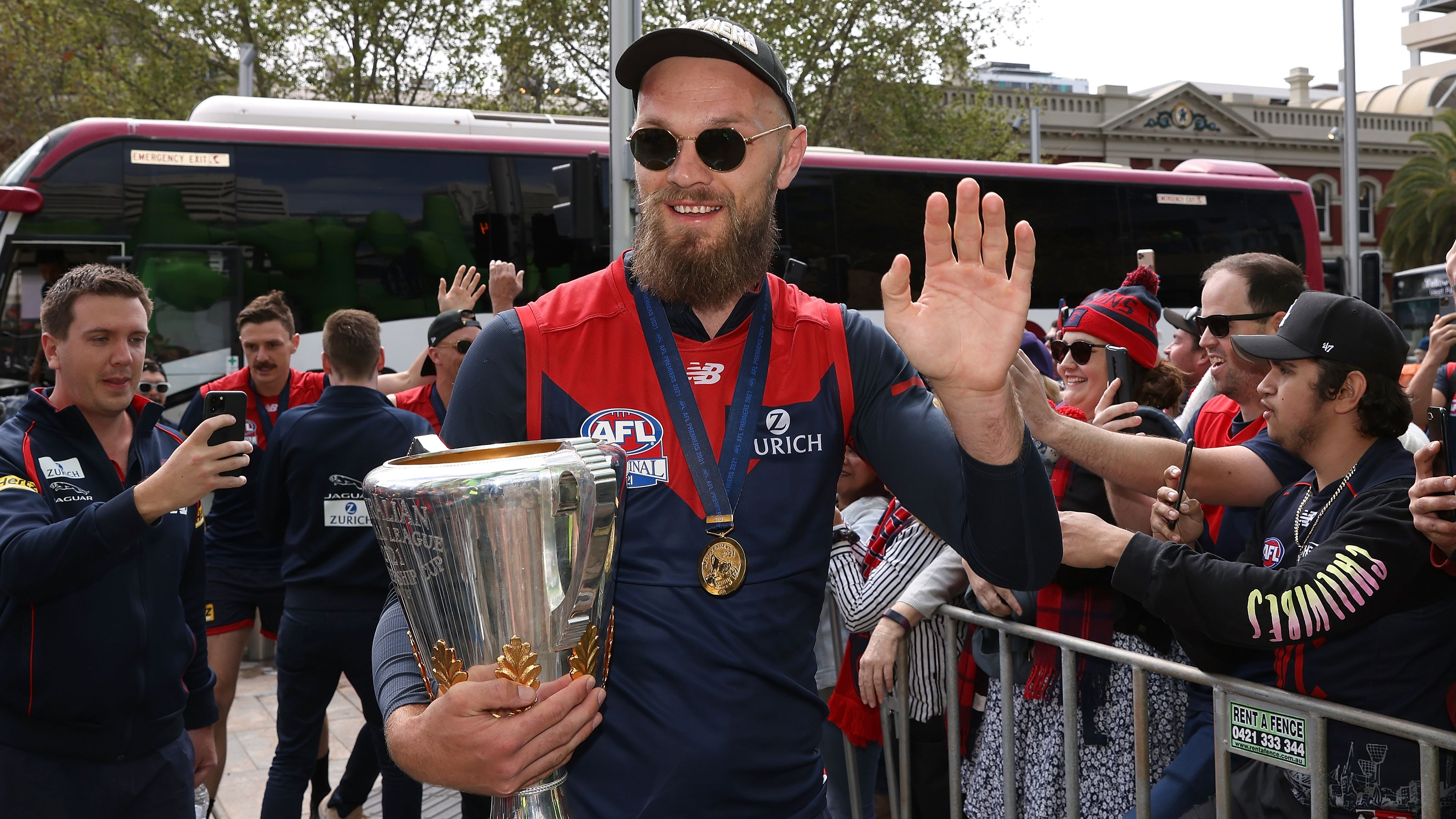 Max Gawn of the Demons arrives for the AFL Premiership Team Celebrations at Forrest Place.