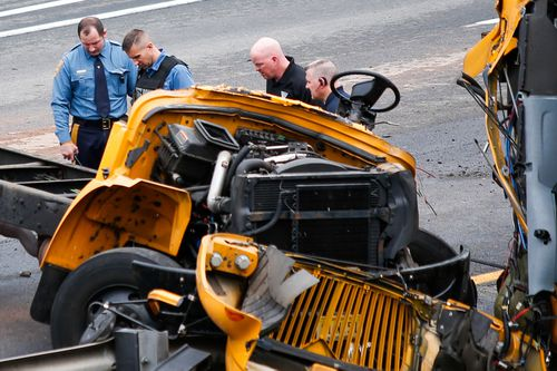 43 other people were injured after the bus collided with a dump truck and slid off the road. (Getty)