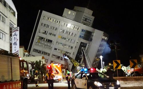 A building in Taiwan is on the verge of collapse after the earthquake struck 21km off its coast. (AAP)