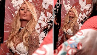 Candice Swanepoel wore a lingerie set for the 'Ice Angels' part of the night. (Instagram)