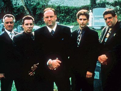 """his undated publicity image released by HBO shows, from left, Tony Sirico, Steven Van Zandt, James Gandolfini, Michael Imperioli and Vicint Pastore,from the HBO drama series """"The Sopranos"""""""