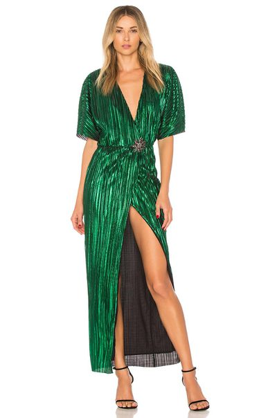 "<p>Exact match: <a href=""https://www.lyst.co.uk/clothing/house-of-harlow-1960-sabrina-dress/"" target=""_blank"" draggable=""false"">House of Harlow 1960 green sabrina dress</a>, $288</p> <p> </p>"