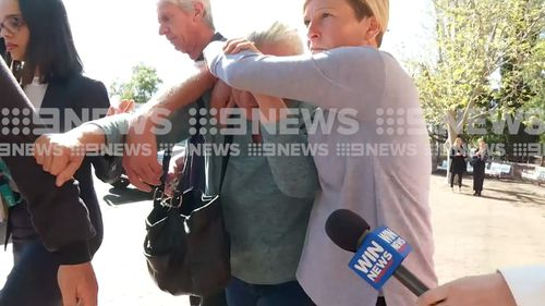 Avian Meller's family shielded her from the media as she left court this morning.