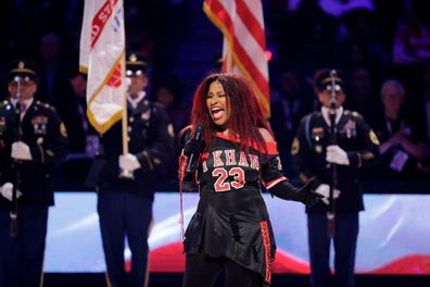 Chaka Khan sings the National Anthem before the NBA All-Star game.