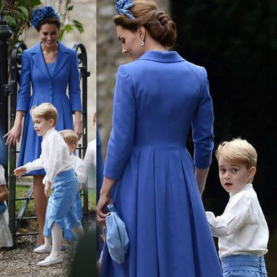 <p>Kate Middleton with eldest son Prince George at the wedding of close friend Sophie Carter and Robert Snuggs at St. Andrew's Episcopal Church in Norfolk, September 22.</p> <p>It's been a busy year of wedding events for the Cambridge's who stepped out as a family for the nuptials of close friends Sophie Carter and Robert Snuggs over the weekend.</p> <p>While Prince George, 5, melted hearts in his pageboy costume and Princess Charlotte, 3, looked adorable in her pearly white bridesmaid outfit, it was Kate Middleton that stole the show.</p> <p>Looking lavish in a lavender-blue coatdress by Catherine Walker & Co and matching floral headpiece, Kate, 36, turned heads as the family arrived to the venue in a decorated farmer's truck.</p> <p>Click through the gallery to see all the other times the Duchess of Cambridge has been the best-dressed guest at her friends' weddings.</p>
