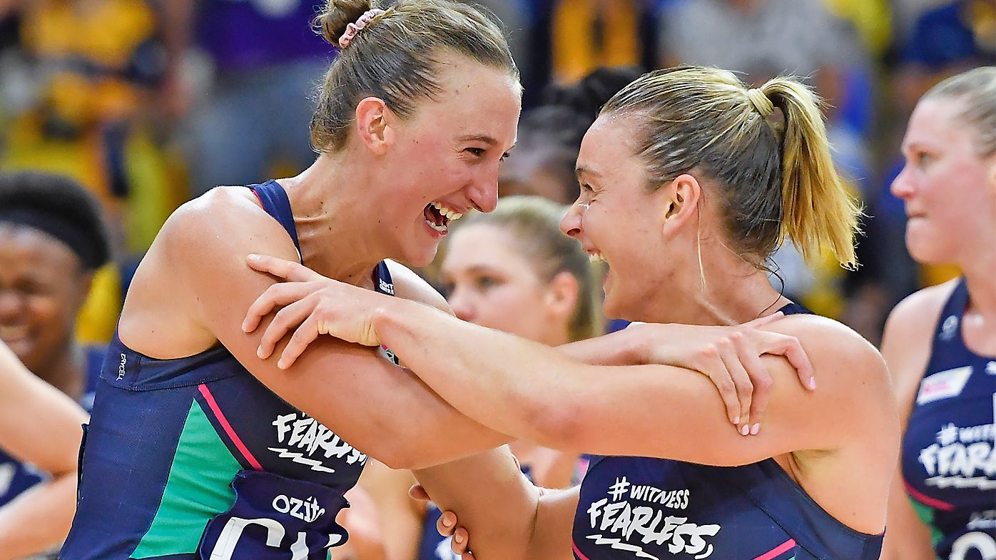 Emily Mannix and Liz Watson of the Vixens celebrate after securing a spot in the Grand Final
