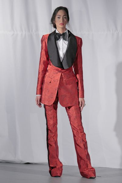 <p>Well suited</p> <p>Wear the pants in red, which represents passion and excitement. We hear you. Now just keep your pants on!</p> <p>Malan Breton, Spring 2017, New York Bridal Fashion Week</p>