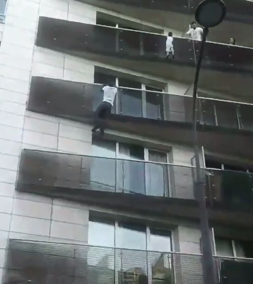 Mamoudou Gassama, from Mali, took just 40 seconds to climb the outside of a Paris building to reach the four-year-old boy. Picture: Supplied.