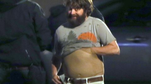 Ew! Zach Galifianikis wears fake pot belly on the set of The Hangover Part III