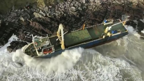The ghost ship MV Alta ran aground in County Cork during Storm Dennis.