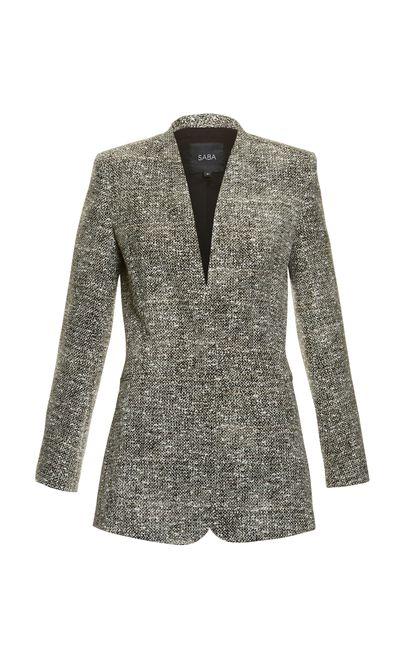 "<p><strong>#2 The I-mean-business blazer</strong><br /><a href=""http://www.saba.com.au/tweed-print-jacket-9321143794139.html#start=8&amp;cgid=womenswear-jacketscoats"" target=""_blank"">Jacket, $350, Saba</a></p>"