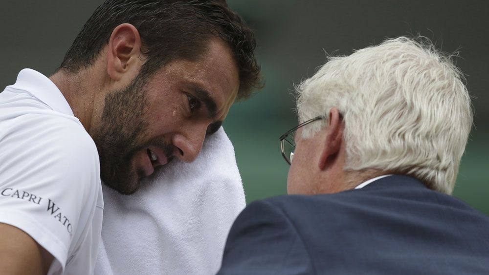 Marin Cilic was a sad figure during parts of his loss to Roger Federer in the men's final at Wimbledon. (AAP)