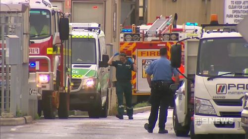 The chemical was found leaking from a pipe as the men unloaded the chemical from a supply ship. Picture: 9NEWS
