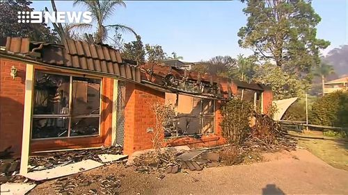 A property gutted by fire in Tathra today. Picture: 9News