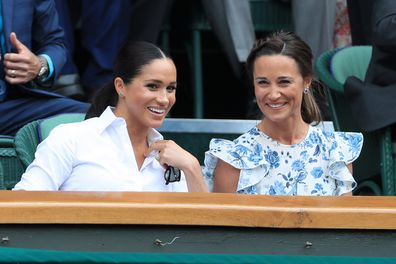Meghan and Pippa and Wimbledon laughing