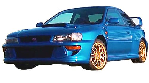 An image released by police of the blue WRX believed to be involved in the shooting. (Supplied)