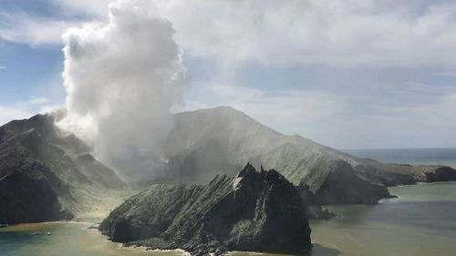 The billowing ash from White Island's eruption.