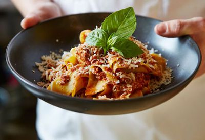 "Recipe: <a href=""http://kitchen.nine.com.au/2016/05/20/10/02/pappardelle-with-wagyu-bolognese"" target=""_top"">Pappardelle with wagyu bolognese<br /> <br /> </a>"