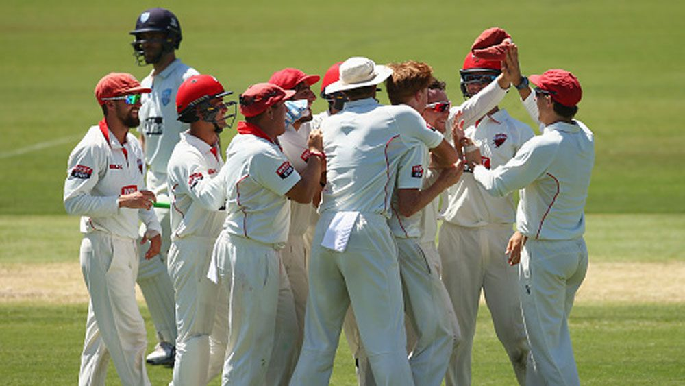 Redbacks captain Travis head and his teammates celebrate a wicket. (Getty)