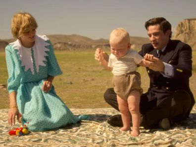 Diana, William and Charles in The Crown.