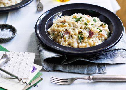Ham, Fontina and rosemary risotto