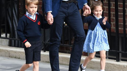 Prince George and Princess Charlotte were taken to the Lindo Wing to visit their new brother. (PA/AAP)