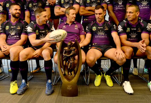 The Provan Summons trophy at a Melbourne Storm media event. (AAP)