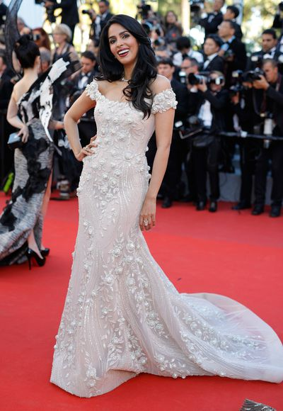 Bollywood actress Mallika Sherawat in Georges Hobeika at the 2017 Cannes Film Festival