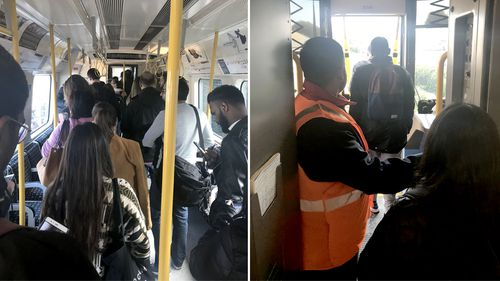 Images show passengers evacuating the train after an explosion on board at Parsons Green station in London. (AAP)