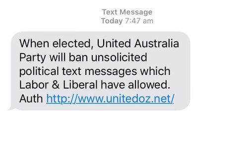 Clive Palmer texted voters at 7:47am on Thursday, pledging to ban unsolicited texts.