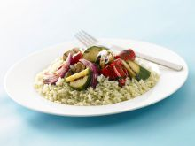 Chargrilled vegetables and pesto rice