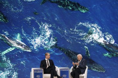 Prince William has taken to the stage at the World Economic Forum in Davos to interview Sir David Attenborough about saving the planet.
