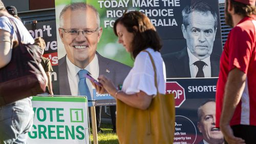 Voters queue up at a Brisbane polling place.