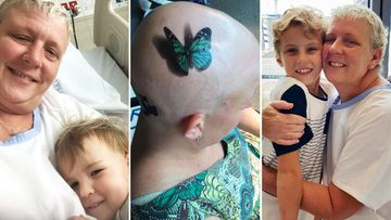 Katrina Odgers, who has been fighting breast cancer for almost two years with her children Isabella, 3, and Asher, 9.