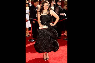 <b>Where she wore it:</b> The 60th Primetime Emmy Awards, 2008.<br/><br/><b>The look:</b> When you star in a show called Ugly Betty, you gotta be careful what you wear. This fashion choice kinda looks like it was made out of garbage bags.