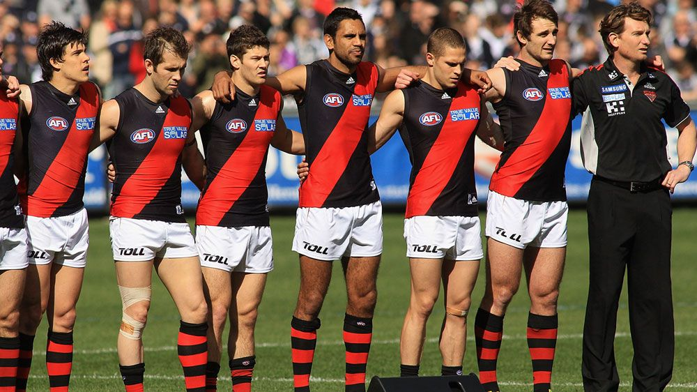 Essendon players with former coach James Hird in 2011. (Getty)