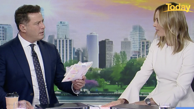 Karl Stefanovic was surprised with a baby gift from the Today team.