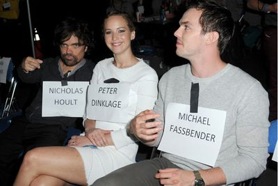 Pictured: Peter Dinklage, Jennifer Lawrence and Nicholas Hoult.<br/><br/>Image: Getty